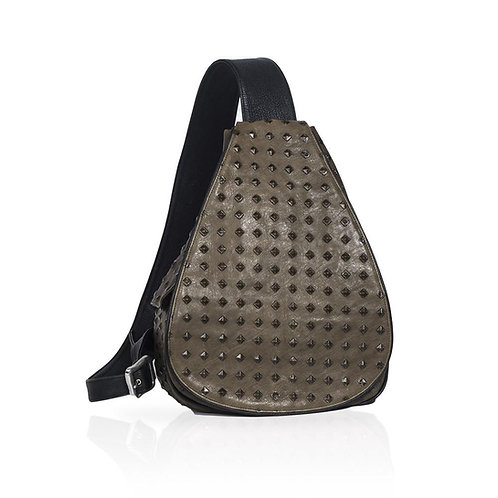 Florence Castle Leather Backpack in Olive
