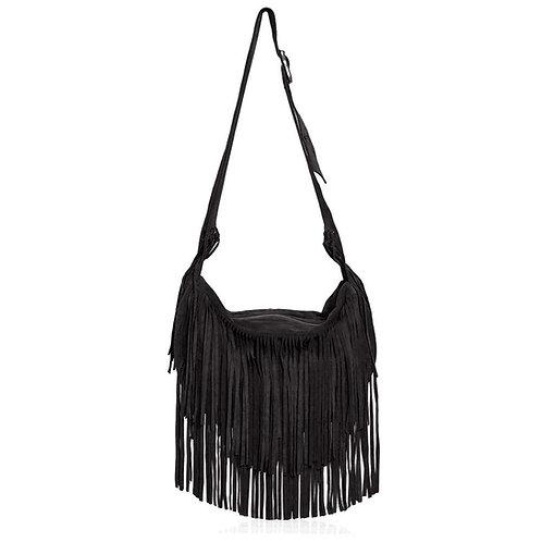 Sassari Suede Fringe Bag in Black