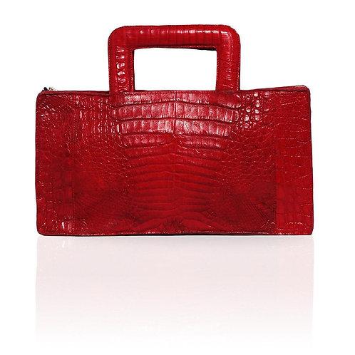 Milan Crocodile Clutch in Red
