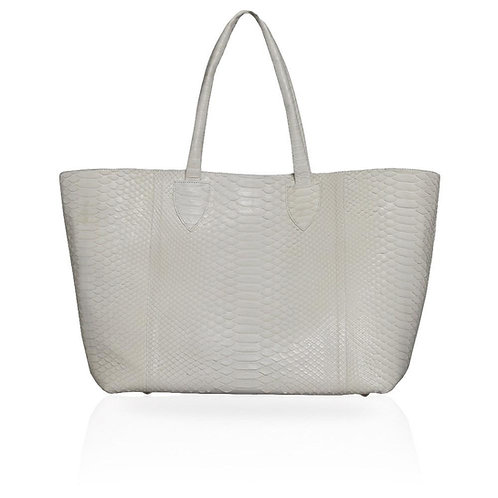 Monza Python Shopping Tote in Ivory
