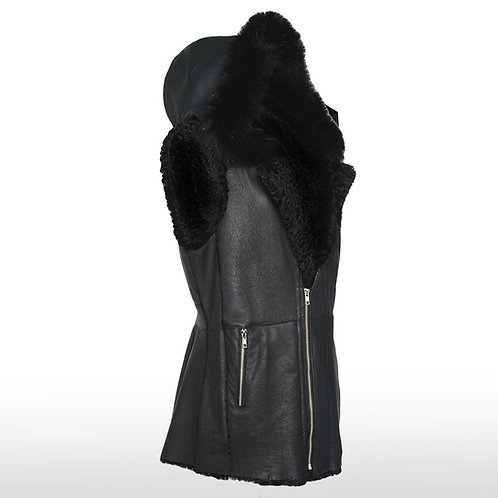 Volpe Fox/Rabbit Fur Reversible Vest in Black