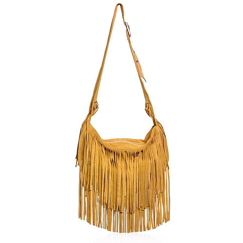 Sassari Suede Fringe Bag in Yellow