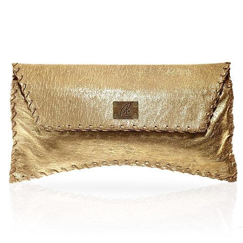 Bella Clutch in Distressed Gold