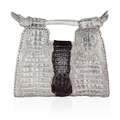 Natalia Crocodile Handbag in Natural/Choc