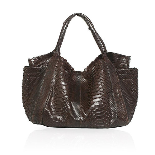 Aversa Python Tote Bag in Chocolate