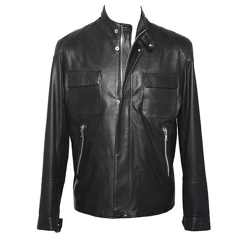 Pomezia Leather Jacket in Black