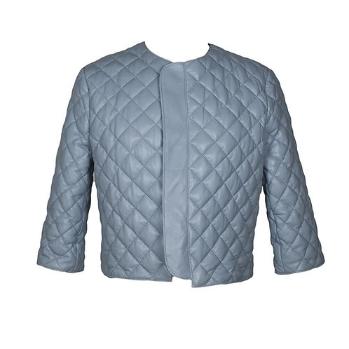 Catania Quilted Leather Jacket in Baby Blue