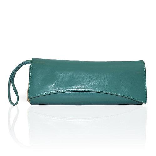 Siska Color Block Clutch in Emerald/White