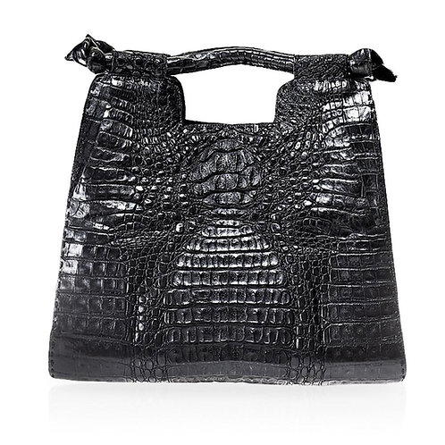 Natal Crocodile Handbag in Black