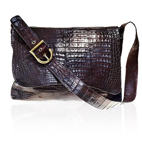 Lyon Crossbody Crocodile Bag in Chocolate