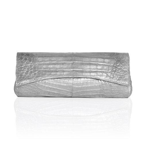 Siska Crocodile Clutch in Silver