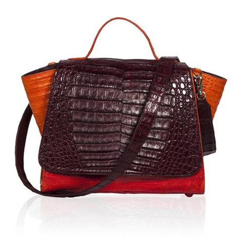 Gemma| Crocodile Satchel in Burgundy Orange & Red