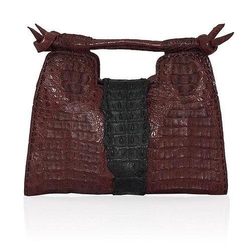 Natalia Crocodile Handbag in Burgundy