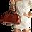Thumbnail: Vitoria Medium Crocodile Handbag in Cognac
