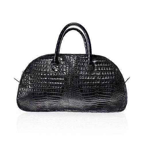 Vitoria Medium Crocodile Handbag in Black