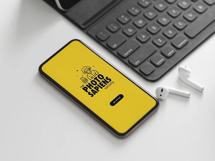Free Black Keyboard With Smartphone Mock