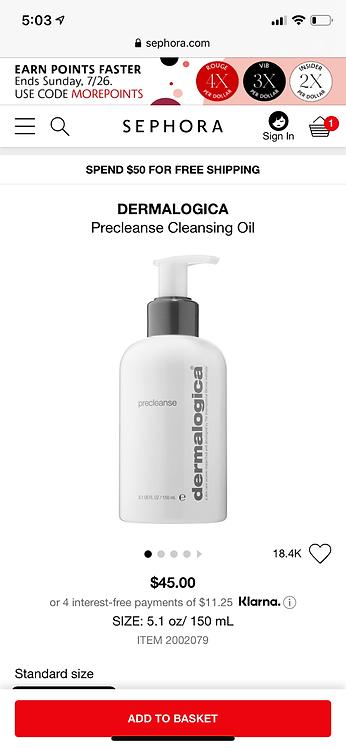 DERMATOLOGICA Precleanse Melt Away Makeup & Debris 5.1oz.