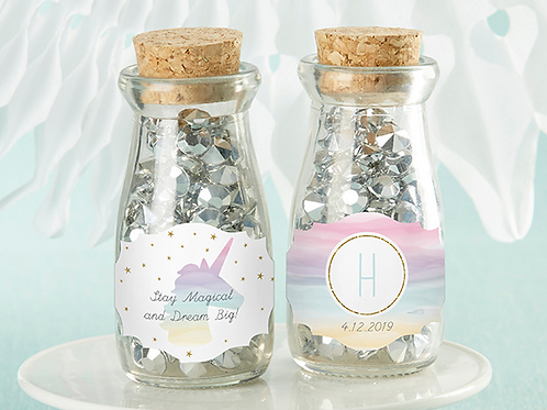 VINTAGE MILK BOTTLE FAVOR JAR - ENCHANTED PARTY (SET OF 12) (PERSONALIZATION AVA