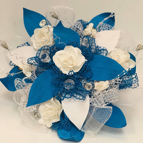Blue and White Bouquet and Corsage Set