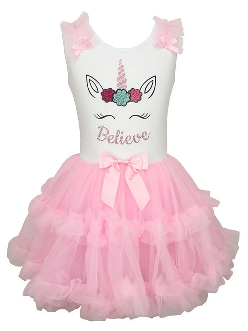 Popatu Little Girls Unicorn Ruffle Dress Believe