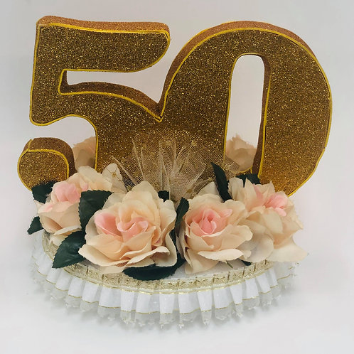 50th anniversary cake topper with flowers