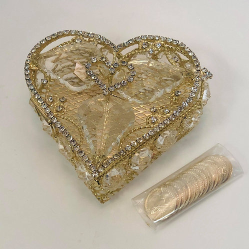Wedding Arras - Arras de boda - Gold Heart with diamonds