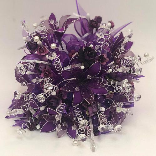 Purple Bouquet and Corsage Set