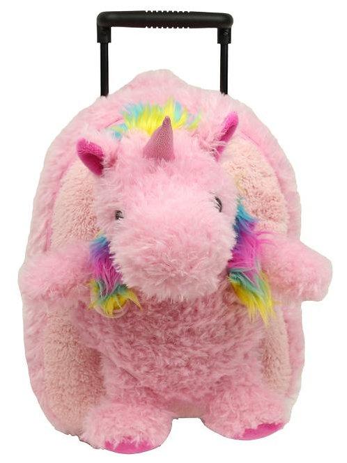Popatu Girls Pink Furry Unicorn Rolling Backpack
