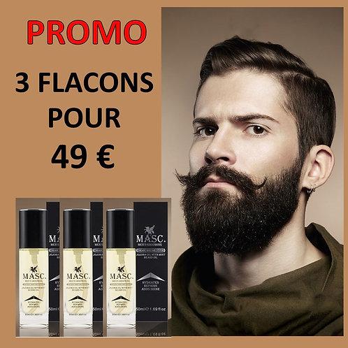 3 Flacons d'huile pour la pousse et l'entretien de la barbe -3 x 50 ml