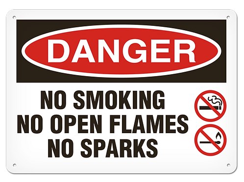 DANGER - No Smoking No Open Flames No Sparks Safety Sign