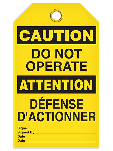 Bilingual CAUTION - DO NOT OPERATE