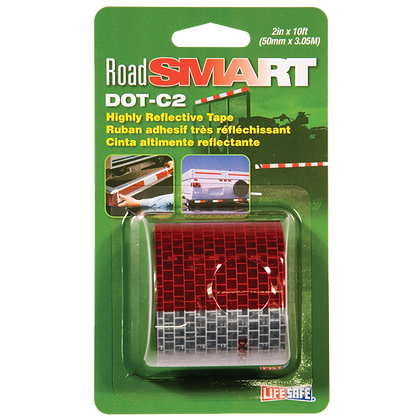 "Road Smart DOT-C2 Reflective Tape 2"" x 10ft (Red/Silver)"