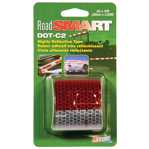 """Road Smart DOT-C2 Reflective Tape 2"""" x 10ft (Red/Silver)"""