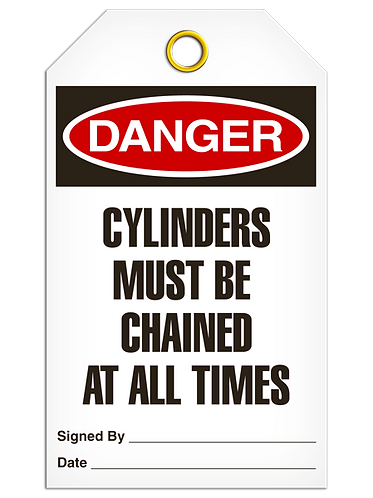 DANGER - Cylinders Must Be Chained At All Times
