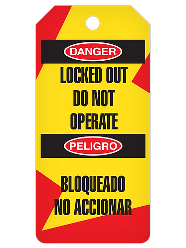 LOCKOUT Tag Roll  -  Locked Out Do Not Operate (English/Spanish)