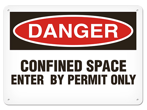 DANGER - Confined Space Enter By Permit Only Safety Sign
