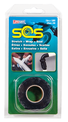 "SOS Self Bonding Silicone Repair Tape 1"" x 16ft (Black - No Adhesive)"
