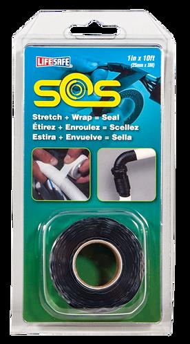 """SOS Self Bonding Silicone Repair Tape 1"""" x 16ft (Black - No Adhesive)"""