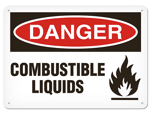 DANGER - Combustible Liquids Safety Sign