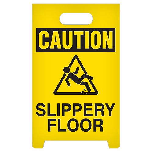 A-Frame Standing Floor Sign - CAUTION - Slippery Floor