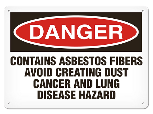 DANGER - Contains Asbestos Fibers Avoid Creating Dust Safety Sign...