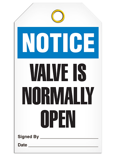 NOTICE - Valve Is Normally Open