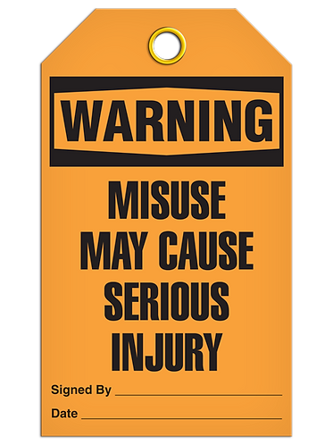 WARNING - Misuse May Cause Serious Injury