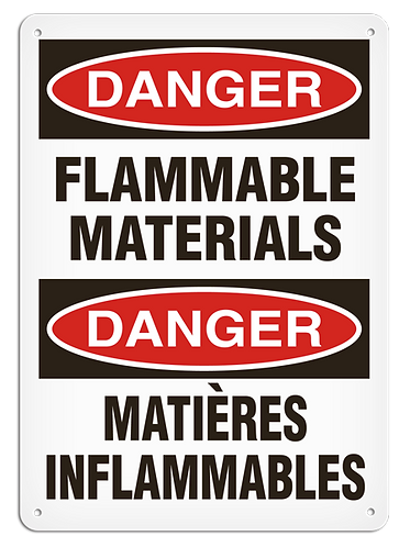 BILINGUAL DANGER - Flammable Materials
