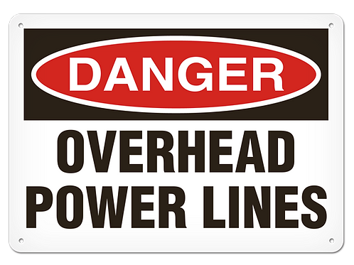DANGER - Overhead Power Lines Safety Sign