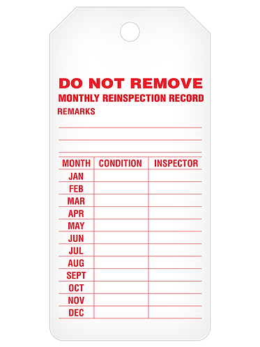 INSPECTION Tag Roll  -  Monthly Reinspection