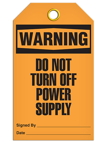 WARNING - Do Not Turn Off Power Supply