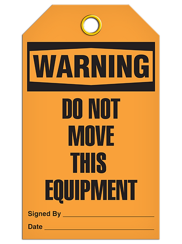 WARNING - Do Not Move This Equipment