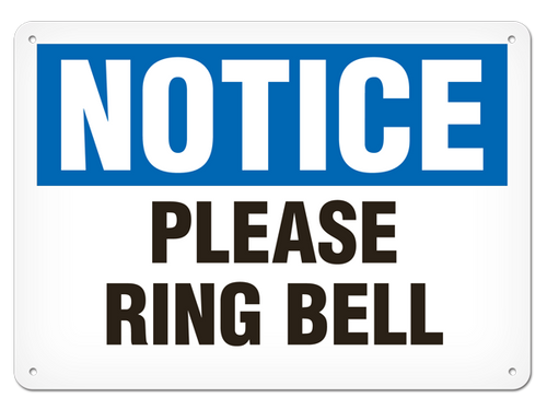 ALL CALLERS PLEASE RING BELL Metal SIGN home business visitors delivery notice