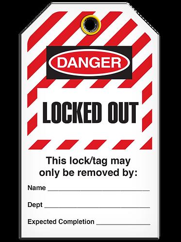 LOCKOUT TAG - Locked Out - Hazard Stripe